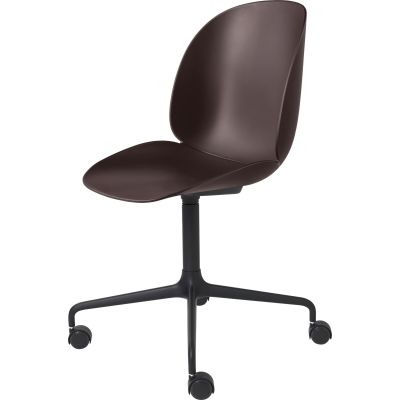 Beetle Meeting Chair - 4-Star Base W/ Castors Unupholstered Shell Black Base, Plastic Dark Pink