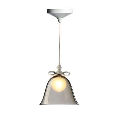 Bell Pendant Light Smoke Shade, White Bow, Large