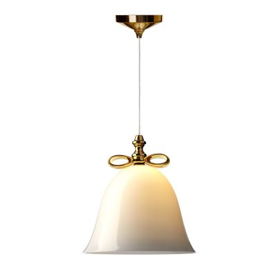 Bell Pendant Light Smoke Shade, Golden Bow, Large