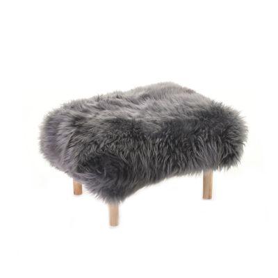 Bethan Sheepskin Footstool Slate Grey