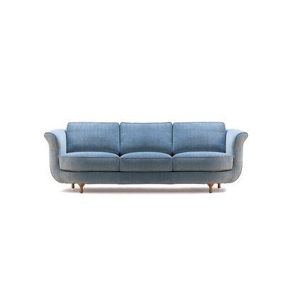 Big Mama 3 Seater Sofa B0211 - Leather Oil cirè, Dark Stained Beech Feet