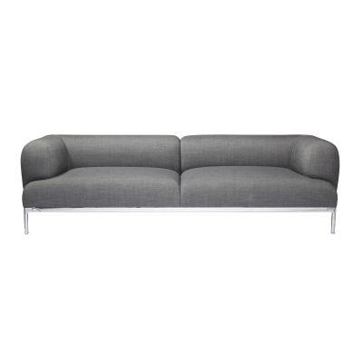 Bjørn 2 Seater Sofa Leather Sierra SI1012 White, Chromed Aluminium