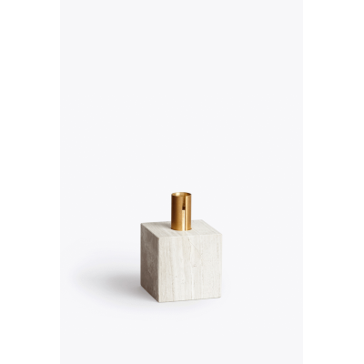 Block Candle Holder Light Fossil Marble
