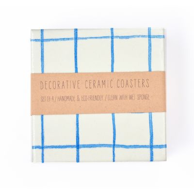 Blue Grid Coasters