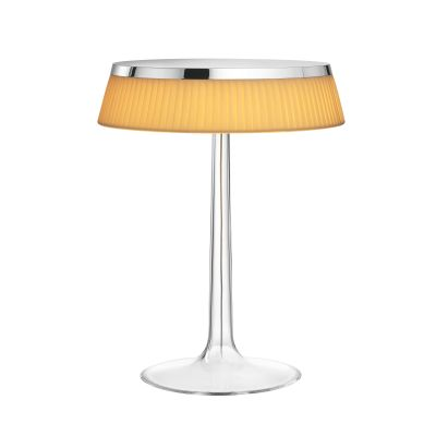 Bon Jour Table Lamp Chrome Top, Fabric Shade