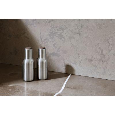 Bottle Grinder, Brushed Stainless Steel w. Walnut Lid, 2-pack
