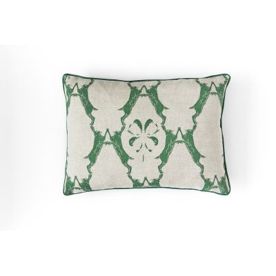 Boxing Hares Cushion Green