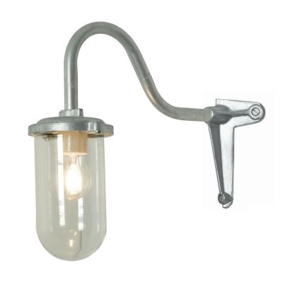 Bracket Wall Light, 100W, Corner, Swan Neck 7672 Galvanised silver, Clear glass