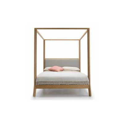 Breda Bed with Canopy Steelcut 2 110, 216cm, Whitened Oak