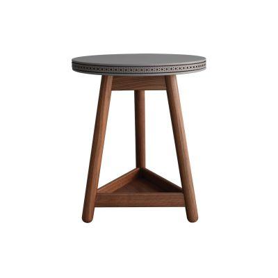 Brogue Side Table Walnut Base, Grey Top