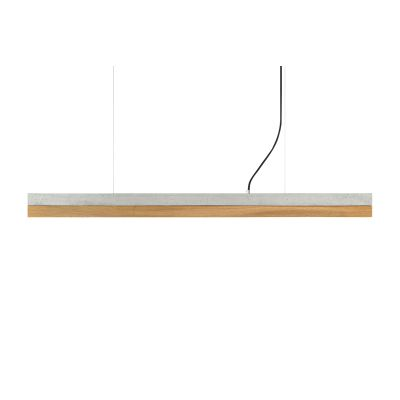 [C] Concrete & Oak Pendant Light Light Grey, 2700k, [C1] - 122cm