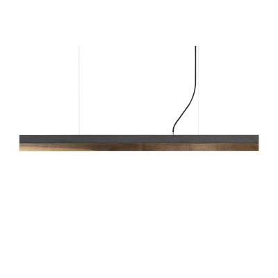 [C] Concrete & Walnut Pendant Light Dark Grey, 4000k, [C1] - 122cm