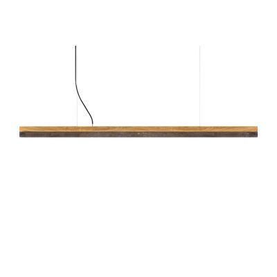 [C] Oak Wood & Corten Steel Pendant Light (92cm, 122cm or 182cm) [C3o] - 182cm, 4000k