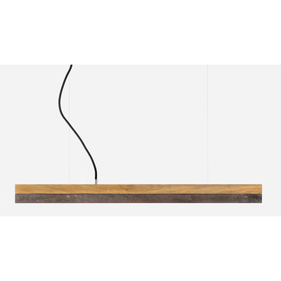 [C] Oak Wood & Corten Steel Pendant Light [C3o] - 182cm, 4000k