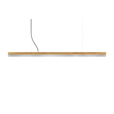[C] Oak Wood & Stainless Steel Pendant Light (92cm, 122cm or 182cm) [C3o] - 182cm, 4000k