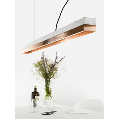 [C1] COPPER - Dimmable LED - Concrete & Copper Pendant Light Dimmable, Light Grey Concrete, Copper