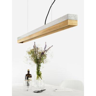 [C1] OAK - Dimmable LED - Concrete & Oak Pendant Light Dimmable, Light Grey Concrete, Oak