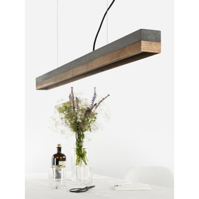 [C1] WALNUT - Dimmable LED - Concrete & Walnut Pendant Light Dimmable, Dark Grey Concrete, Walnut