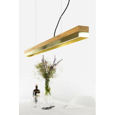 [C1o] BRASS - Dimmable LED - Oak & Brass Pendant Light Dimmable