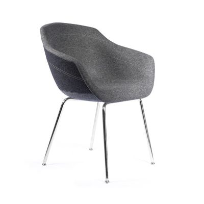 Canal Dining Chair with Four-Legged Steel Base Ton Sur Ton - Anthracite