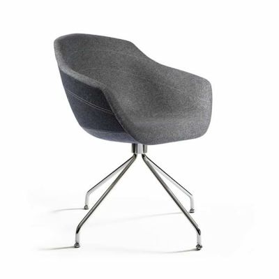 Canal Swivel Dining Chair with Steel Legs Ton Sur Ton - Anthracite
