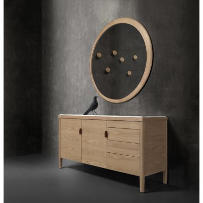 Carousel III Sideboard Walnut Natural, Calcatta Marble