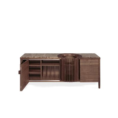 Carousel Sideboard Walnut Natural, Calcatta Marble