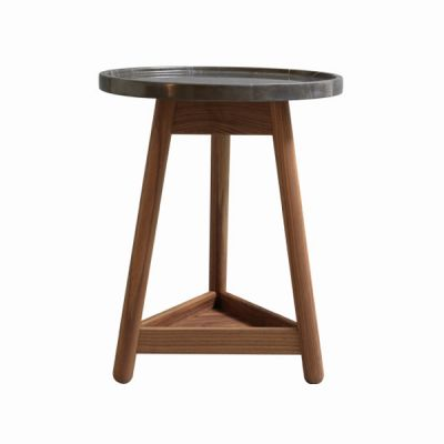 Carve Side Table Walnut Base, Black Top