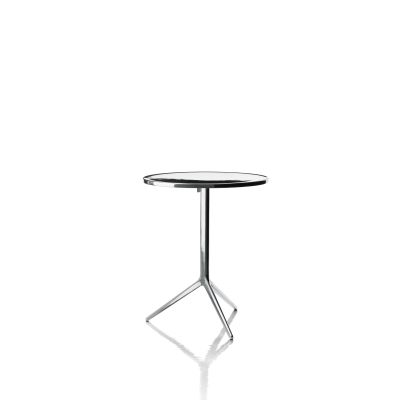 Central Folding Table - Round Polished, Polished Aluminium