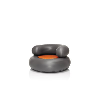 CH-AIR Armchair Anthracite with Orange Pillow