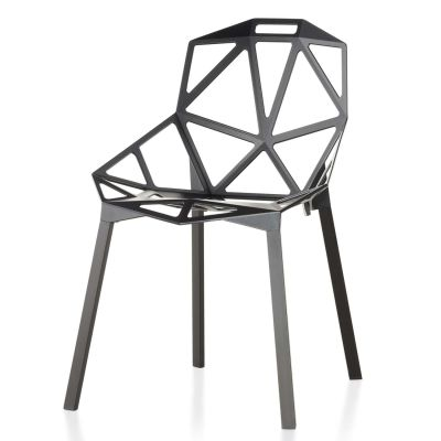 Chair One - Stacking, Set of 2 Grey Anthracite, Anodised Aluminium