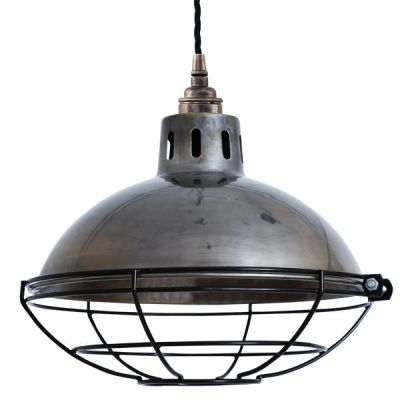 Chester Cage Lamp Industrial Factory Light  Antique Silver