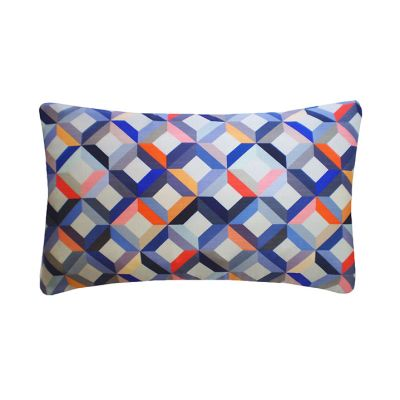 Chevron Printed Rectangular Cushion Coral Grey