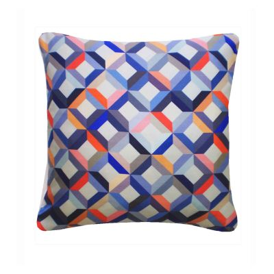 Chevron Printed Square Cushion  Coral Grey