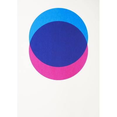 Circles Screen Print Blue & Pink, Without Frame