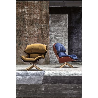 Clarissa Armchair Relax with Wooden Base B0211 - Leather Oil cirè, Oak Natural oil