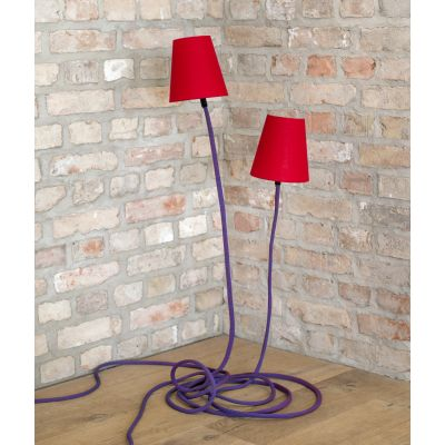 climbing lamp green/blue rope, red lamp shade