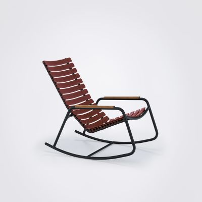 Clips Rocking Chair - Black Frame, Bamboo Armrests Paprika