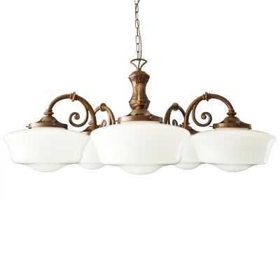 Clones 5 Arm Chandelier Satin Brass
