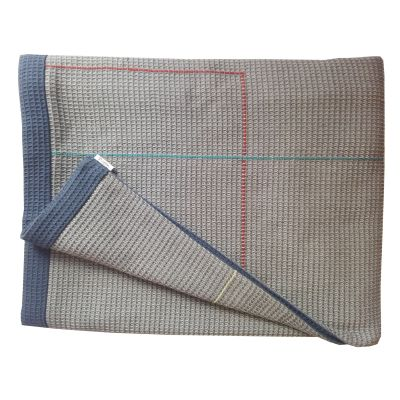 COLVILLE taupe navy hand embroidered reverse throw