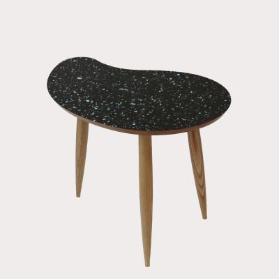 Comma Side Table Comma Table in Sparkled Black
