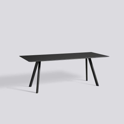 Copenhague CPH 30 Dining Table Black Stained Solid Oak Frame, Black Linoleum Tabletop, Black Stained Plywood Edge, 200x90 cm, 74 cm
