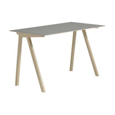 Copenhague Linoleum Top Desk CPH90 Matt Lacquered Solid Oak Base, Grey Linoleum Top