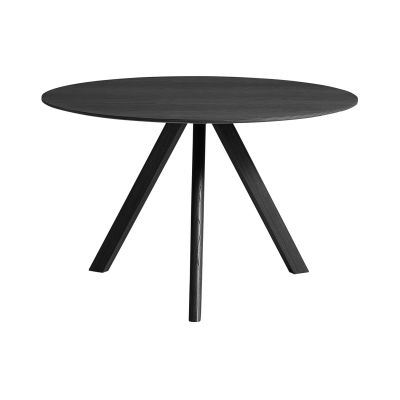 Copenhague Linoleum Top Round Dining Table CPH20 Stained Black Solid Oak Base, Black Linoleum Top, Large