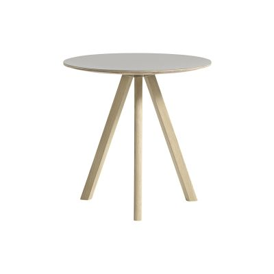 Copenhague Linuleum Top Round Coffee Table CPH20 Matt Lacquered Solid Oak Base, Off White Linoleum Top