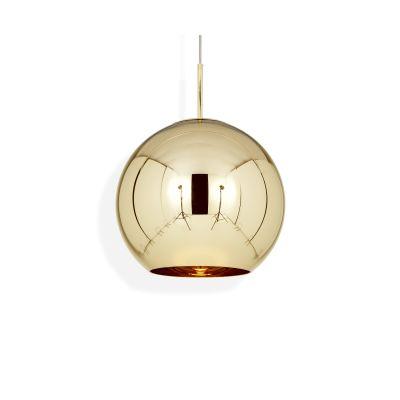 Copper Round Pendant Lamp Gold 45cm