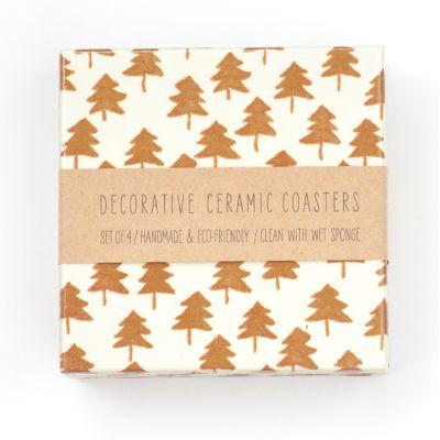 Copper Trees Ceramic Coasters