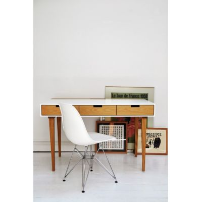 Corian Writing Desk Black, Flared Legs