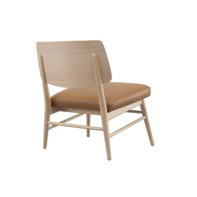 Country Lounge Chair with Upholstered Seat Lana 002 Frost, Wewood Natural Walnut
