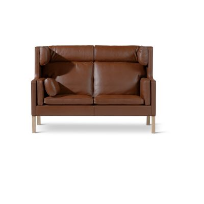 Coupé Sofa Oak no finish, Leather 75 Cognac